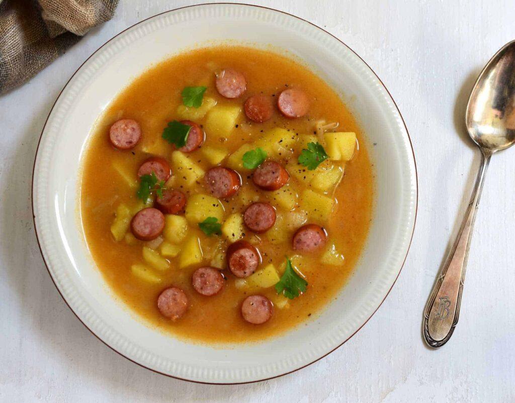authentic Czech frankfurter soup